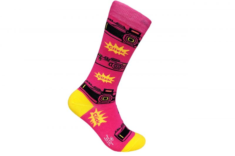 Pink Retro Camera Bamboo socks made in usa sleet and sole