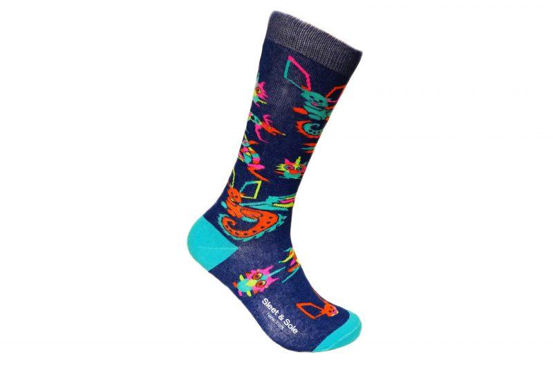 blue alebrijes recycled socks sleet and sole