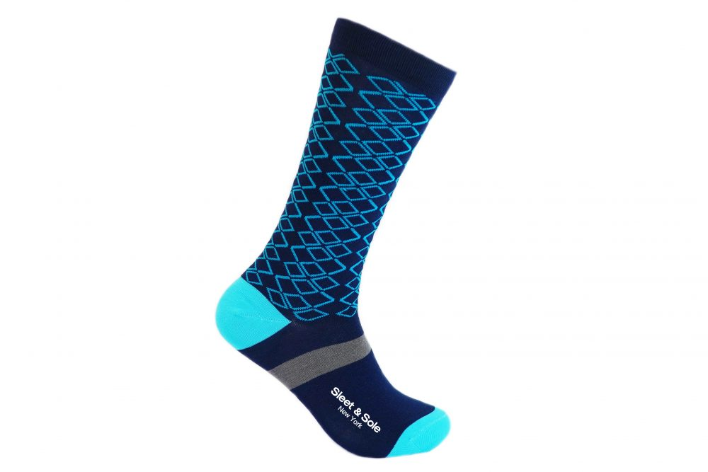 blue argyle bamboo socks made in the usa at sleet and sole