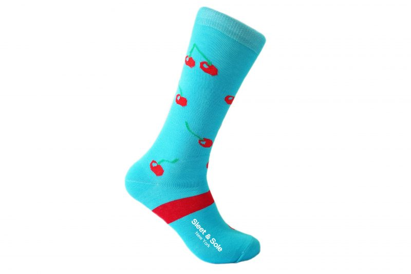 blue and red cherry socks sleet and sole