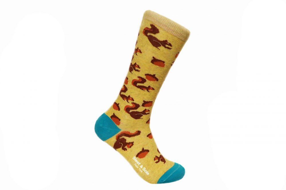 Squirrel recycled socks made from recycled plastic bottles at sleet and sole factory