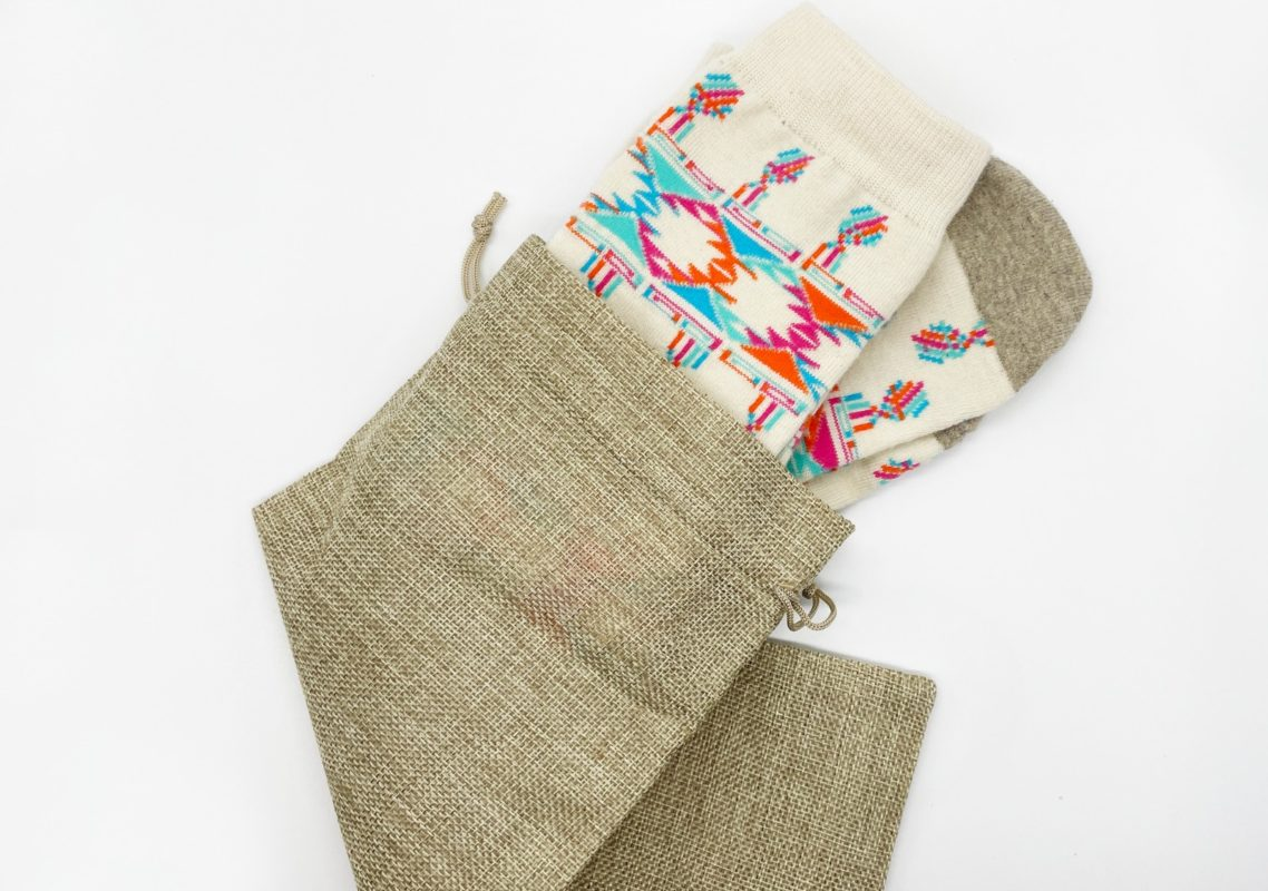 artisanal recycled wool socks in a eco friendly bag made in usa sleet and sole