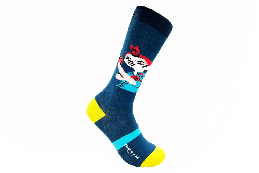 blue rosie the riveter repreve recycled socks made in the usa at sleet and sole