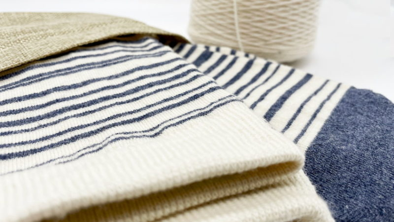 stripes merino and recycled wool socks women and men in a recycled bag at sleet and sole