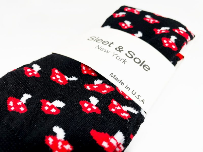 black and red mushroom recycled socks made from the usa at sleet and sole factory