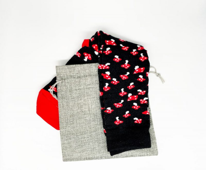 black and red mushroom socks made from the usa at sleet and sole factory