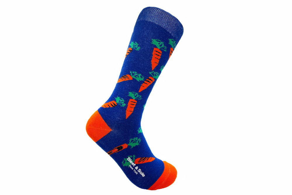 carrot recycled socks made in the usa at sleet and sole factory