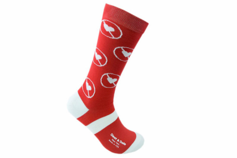 anti valentines day recycled socks made in the usa at sleet and sole factory