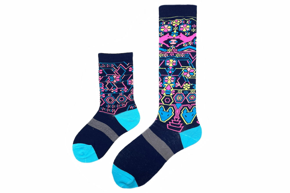 Mommy / Daddy & Me Folk Mexican Art Matching Sock Set made in usa at sleet and sole