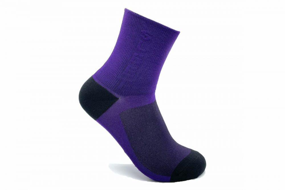 purple cycling socks made in usa at sleet and sole